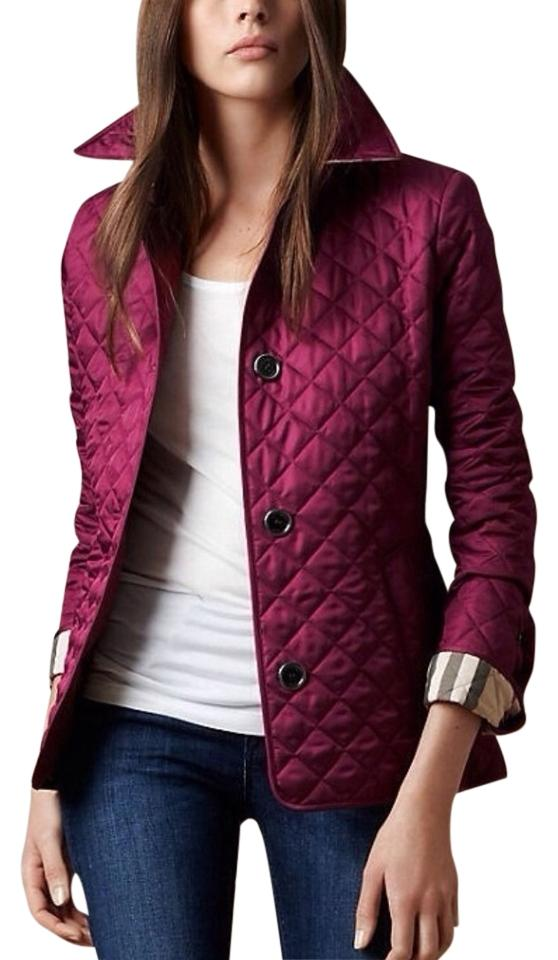 Burberry Deep Fuchsia Brit Copford Quilted Spring Jacket Size 6 S