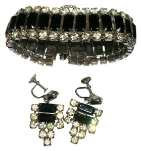 Vintage Vintage Rhinestone French Jet Bracelet & Screw Back Earrings Set