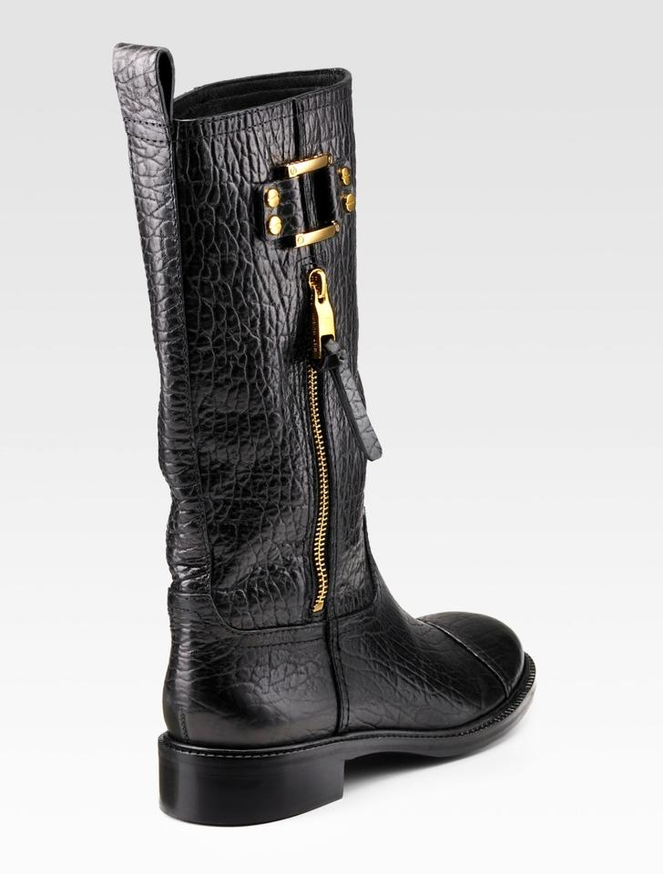 45f6df28d80 Tory Burch Black (With Gold Hardware) Stowe Leather Boots Booties ...