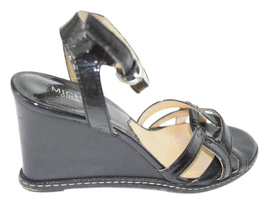Michael Kors Comfortable Elegant Day To Night Black with Gold Hardware Wedges