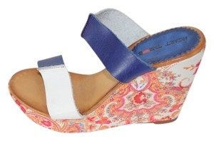 Heart Throb Vintage Sixties Look And Color Block Leather blue, white, with paisley print feat. gold, red, turquoise Platforms