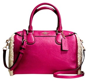 Coach Saffiano Leather Bennett Satchel in Cranberry/Natural