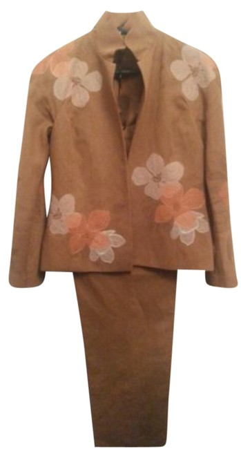 Ellen Tracy Ellen Tracy rust brown embroidered stand collar floral casual pant suit 6p