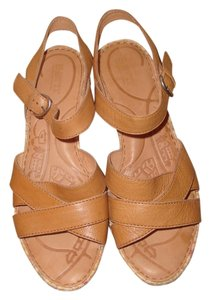 Børn Women's Leather Wedge 9 Khaki Brown Sandals