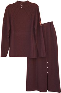 St. John St John Brown 100% Cashmere Knit Sweater & Skirt 2 PC Set Suit P S