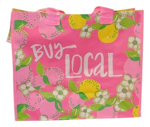 Lilly Pulitzer Market Eco Grocery Preppy Buy Local Go Green Tote in Pinks