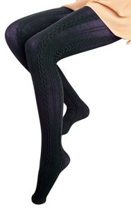 Cable Knit Navy Tights - S/M