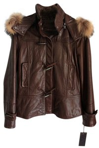 Andrew Marc Leather Raccoon Fur Fur Brown Leather Jacket