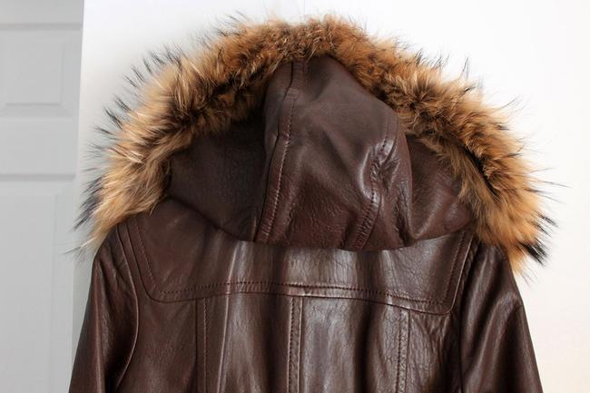 Andrew Marc Raccoon Fur Fur Brown Leather Jacket