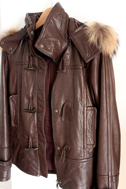 Andrew Marc Raccoon Fur Fur Brown Leather Jacket Image 2