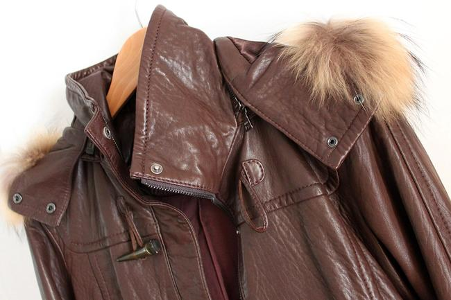 Andrew Marc Raccoon Fur Fur Brown Leather Jacket Image 3