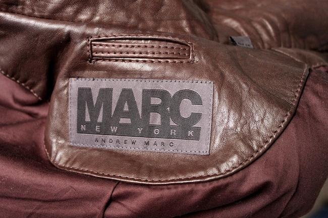 Andrew Marc Raccoon Fur Fur Brown Leather Jacket Image 6