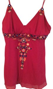 BCBGMAXAZRIA Silk Flowy Bohemian Top Deep Red