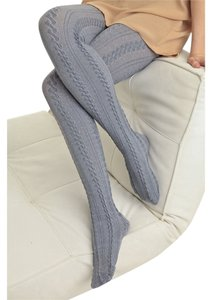 Cable Knit Grey Tights - M/L