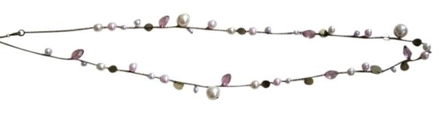 Item - White Gold Purple Long Bead Necklace