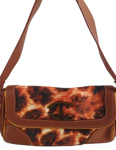 Just Cavalli Animal Print Leopard Baguette Leather Fabric Shoulder Bag