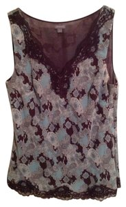 Ann Taylor Top Light Blue & Brown