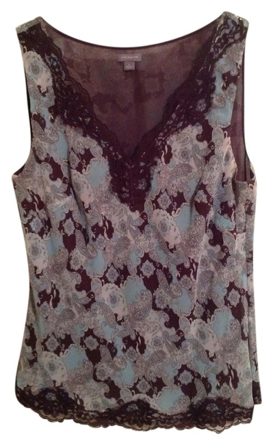 Preload https://item5.tradesy.com/images/ann-taylor-light-blue-and-brown-blouse-size-8-m-1211574-0-0.jpg?width=400&height=650