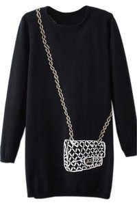OASAP Long Sleeve Black Black Long Knit Sweater
