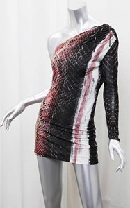 Roberto Cavalli Ruched Animal Print Snakeskin Dress