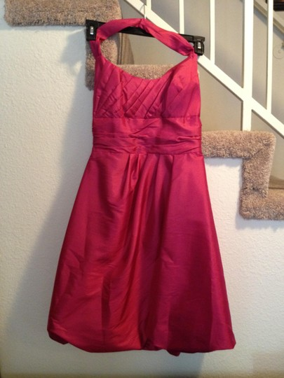 David's Bridal Watermelon / (Pink) Pink Cocktail Or Traditional Bridesmaid/Mob Dress Size 4 (S)