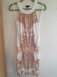 Rampage short dress Cream and Tan (Gold tone) Tunic Open Back on Tradesy