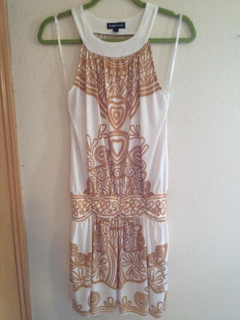 Item - Cream and Tan (Gold Tone) Tunic Open Back Above Knee Short Casual Dress Size 4 (S)