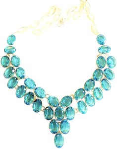 Beautiful Genuine Sky Blue Blue Topaz 925 Sterling Silver Bib Statement Necklace