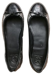 Tory Burch Metallic Quilted Comfortable Silver and Navy Blue Flats