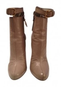 Miu Miu Name: Capretto Ankle Strap Description: And Leather With Ankle Strap And Detailing Beige, taupe, brown, gold Boots