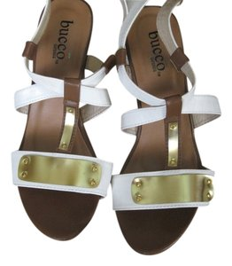 Bucco Wedge Sale White Sandals