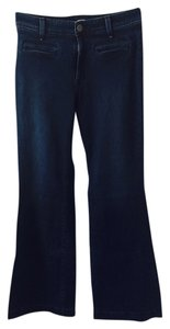 Rich & Skinny Sugar Denim High Rise Flare Dark Rinse Trouser/Wide Leg Jeans-Dark Rinse