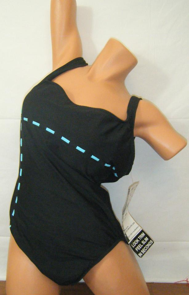 Black W Turquoise Trim Swimsuit Padded Look In Seconds Kohls One-piece  Bathing Suit Size 16 (XL, Plus 0x)