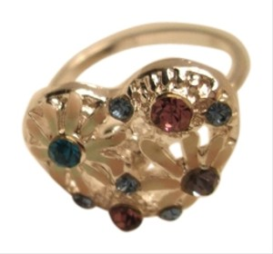 jcp Heart ring/costume jewelry. Silver color with multicolor costume stones. Approx. Size 4 /Use for pinky ring or what ever fits.