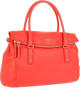 Kate Spade Leslie Pebbled Leather Cobble Hill Coral Satchel in Persimmon