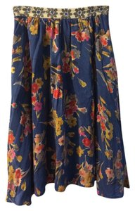 Edme & Esyllte Floral Anthropologie Skirt Blue