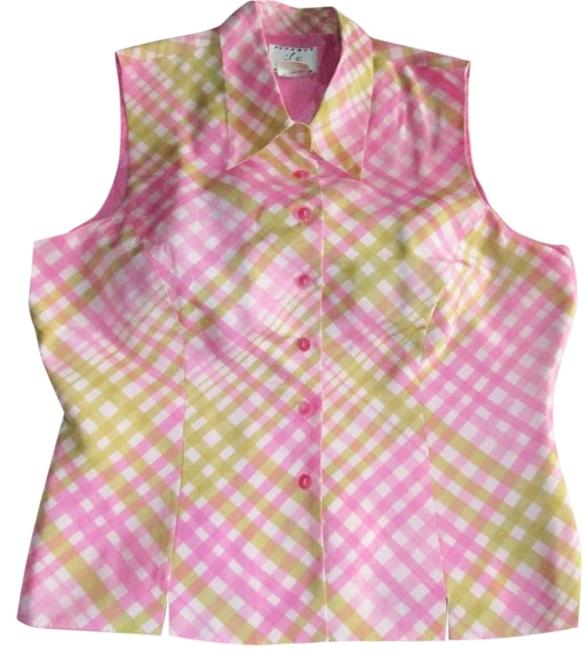 Ice Sporty Classic Silk Tailored Plaid Button Down Shirt pink green white