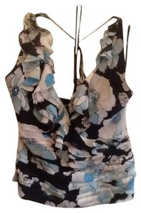 Kay Unger Chi Chiffon Black/ Blue/ Cream Halter Top