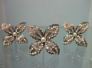 Thomas Knoell Designs Antique Silver Petite Swarovski Crystals Sticks Hair Accessory