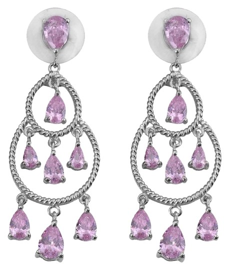 Karis Collection KARIS Collection - Simulated Pink Diamond (Pear) Earrings in Platinum Bond Brass TGW 12.60 cts.