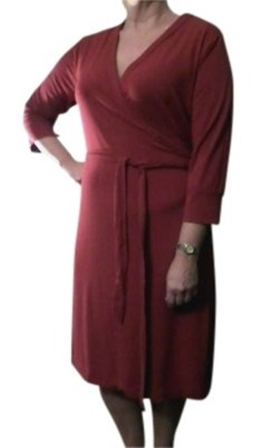 Item - Red Wrap-around 3/4 Sleeve Knee Length Casual Maxi Dress Size 16 (XL, Plus 0x)