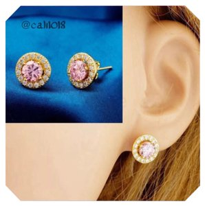 Other 18K Gold Triple Platinum Plated Pink Zircon Stud Earrings