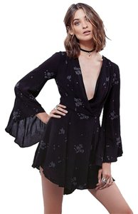 Free People Jasmine Embroidered Black W/ Cornflower Blue Flowers Dress