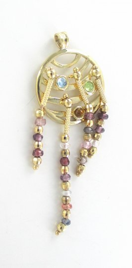 Other 14kt Solid Yellow Gold Pendant Charm Dangle with Gold, Beads, Citrine
