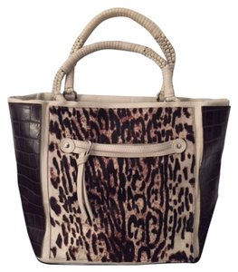 Elie Tahari Designer Pony Hair Tote in White/Brown Leather