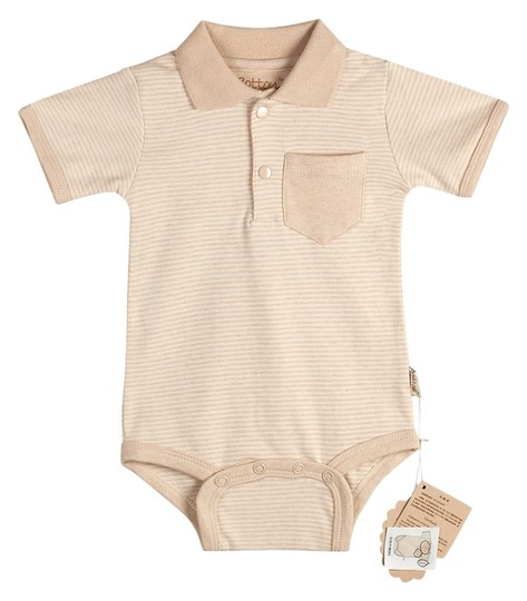 Eotton Certified Organic Cotton Baby Bodysuit in Light Brown w/ Collar - Small (3-6 Months)