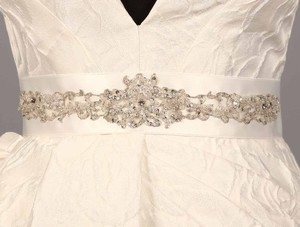 Your Dream Dress Exclusive B563 Bridal White Embellished Bridal Sash