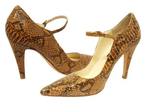Steven by Steve Madden Snakeskin Pointed Toe Leather Heels Beige Taupe Brown/Tan Pumps