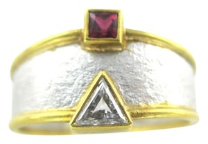 J apodaca PLATINUM & 18KT KARAT SOLID YELLOW GOLD J APODACA DESIGNER RING DIAMOND RUBY