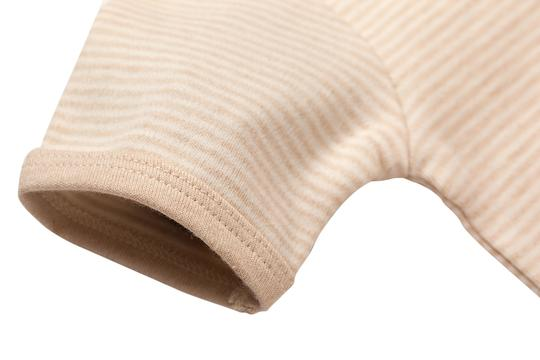 Eotton Certified Organic Cotton Baby Bodysuit in Light Brown w/ Collar - Large (9-12 Months)